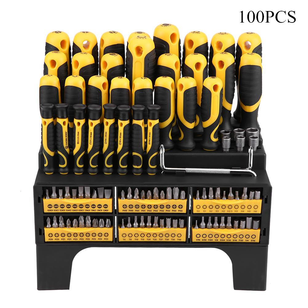 100-Piece Magnetic Screwdriver Set with Plastic Racking Best